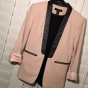 H&M Blush Blazer with Black Leather Accents
